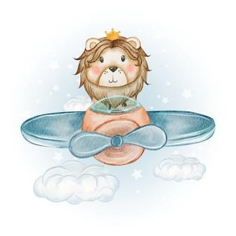 Милый пилот король лев на самолете акварель иллюстрации
