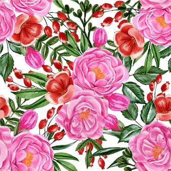 シームレスパターン牡丹ピンクと赤の花