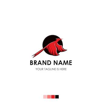 Логотип птица красный