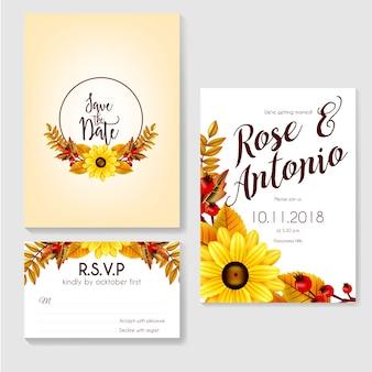 Осеннее осеннее свадебное приглашение из цветов