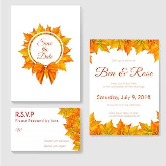 Осеннее свадебное приглашение с листьями кленов