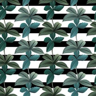 ブラックとストリップのシームレスなパターンの葉の植物