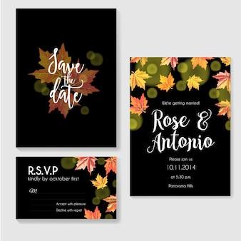 Осеннее свадебное приглашение с листьями на черном фоне