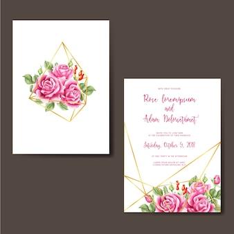 結婚式招待状は、ピンクの水彩ダイヤモンドゴールドバラ