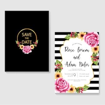 花の水彩画を使った現代の結婚式招待状