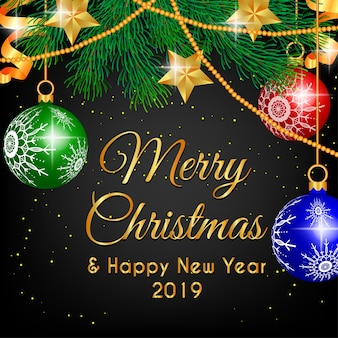 メリークリスマスデコレーションシャンデリアとスターゴールド