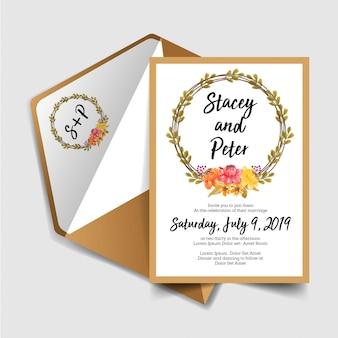 水彩画花輪ヴィンテージと結婚式の招待状