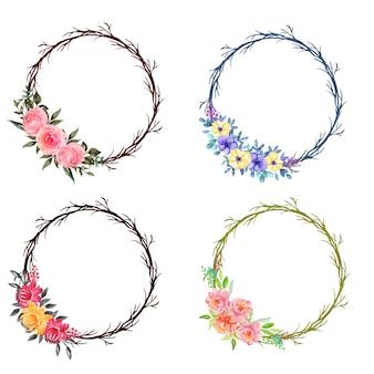 水彩花輪の花輪のセット