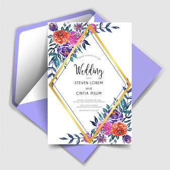 幾何学的に美しい水彩の花の結婚式の招待状