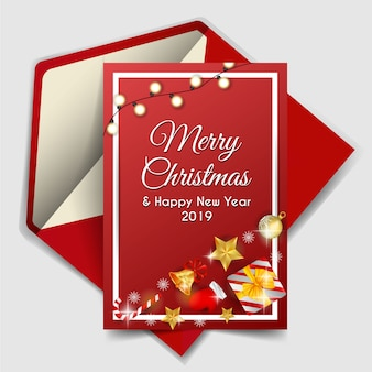 クリスマス要素と赤い背景とメリークリスマス