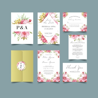 ムーディー水彩の花の結婚式の招待状