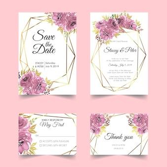 水彩の花ゴールド幾何学的結婚式の招待状