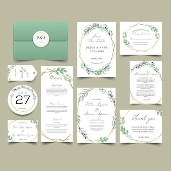 モダンな緑豊かな緑の結婚式の招待状