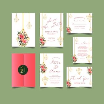 幾何学的な緑の水彩画との結婚式の招待状