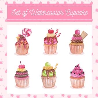 甘いカップケーキの水彩画セット