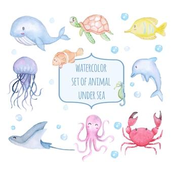 海の下の水彩画のかわいい動物のセット