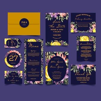 モダンな花の水彩画の結婚式の招待状