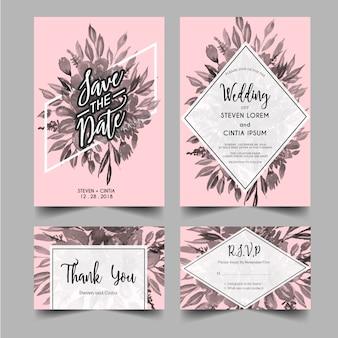 モダンな結婚式の招待状グレースケール花柄
