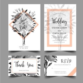 グレースケールの水彩画とモダンな結婚式の招待状