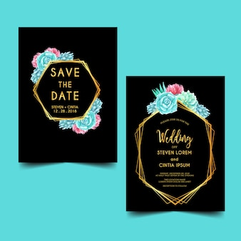 結婚式の招待状の水彩サボテン