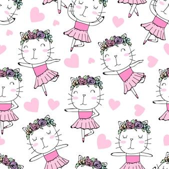 シームレスパターンかわいいバレリーナ猫手描き