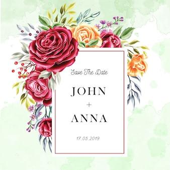 Многоцветная роза цветочная рамка акварель приглашение на свадьбу