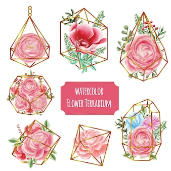 水彩の花ピンクとテラリウムゴールド