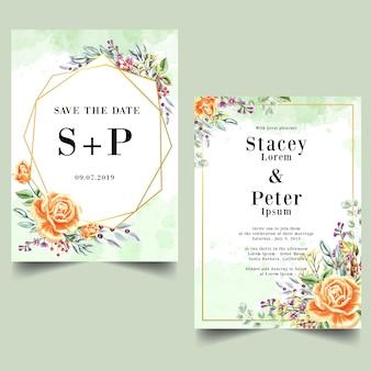 水彩ローズオレンジ結婚式招待状のセット