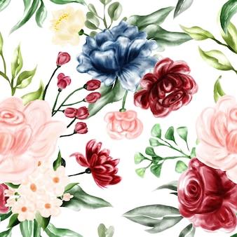 シームレスパターン水彩花のフレームイラスト