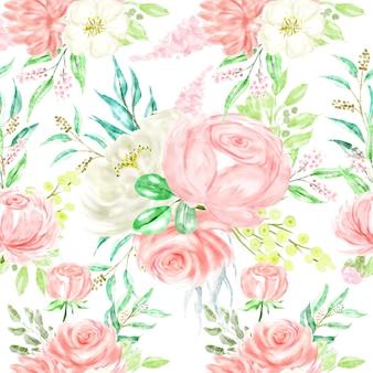シームレスパターン水彩画ボタニカルフローラルピンクホワイト