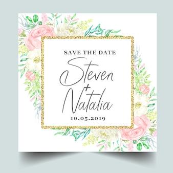 水彩植物花のフレームの結婚式の招待状