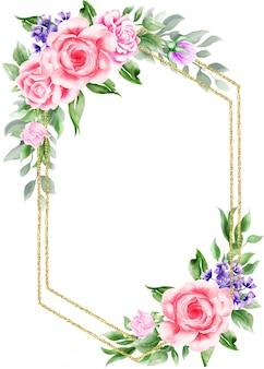 Акварель цветочные винтажная рамка с золотой каймой