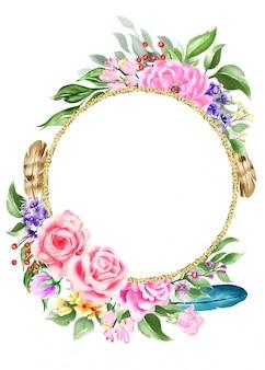 Акварельная богемная композиция с цветком