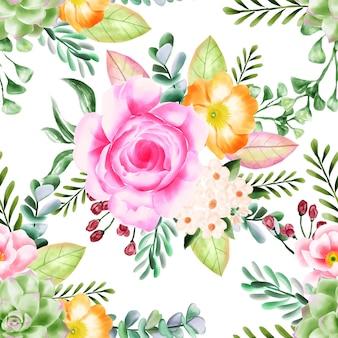 美容花柄シームレスパターン背景