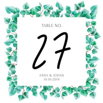 現代の緑のユーカリの葉のテーブル番号カード。
