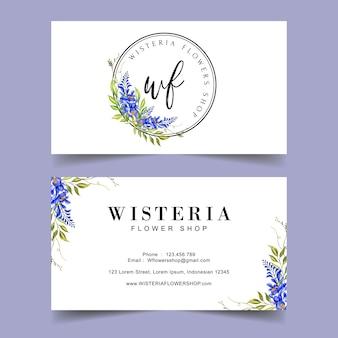 Шаблон визитной карточки с цветочным логотипом глицинии