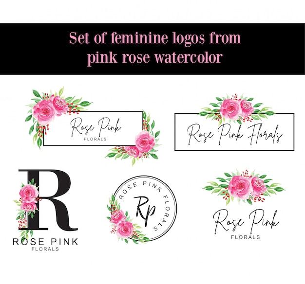 ピンクのバラの水彩画から女性らしいロゴのセット