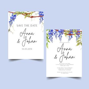Синий шаблон приглашения на свадьбу цветок глицинии