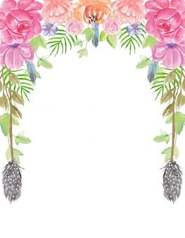 Богемные летние акварельные цветы фон ручная роспись