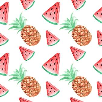 シームレスパターンの壁紙スイカとパイナップルの熱帯水彩画の夏
