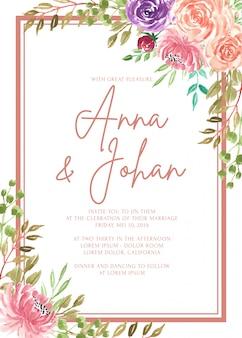 Рамка свадебного приглашения шаблон красивый цветок акварель