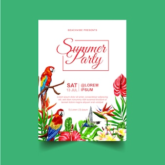 Летняя вечеринка флаер или плакат с тропическими растениями и птицами