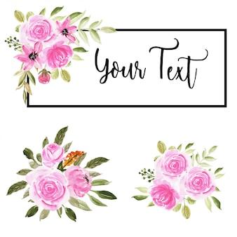 ピンクの水彩花束フラワーアレンジメントのセット