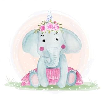 花の冠を持つかわいい赤ちゃん象