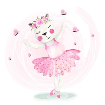 花冠と踊るかわいい猫