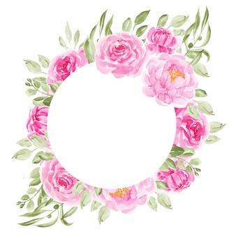 ピンクの牡丹の花サークル結婚式の招待状のフレーム