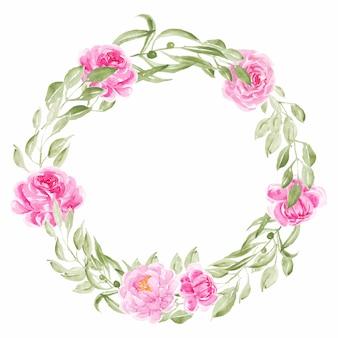 ピンクの牡丹水彩花の花輪