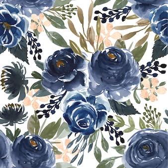 シームレスパターン水彩花柄ネイビーブルー