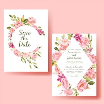 水彩フレーム桃の花と結婚式の招待カードのテンプレート