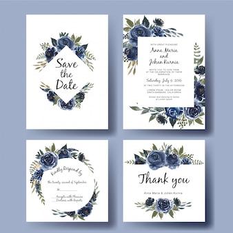 水彩花ブーケネイビーブルーの結婚式招待状カードテンプレートセット